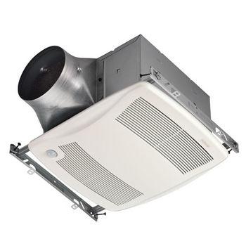 "NuTone Ultra Green ™ 110 CFM Motion Sensing Multi-Speed Ventilation Fan with White Grille, <0.3 Sones, Energy Star ®, Housing: 11-3/8"" W x 10-1/2"" D x 7-5/8"" H"