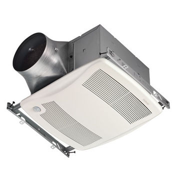 "NuTone Ultra Green ™ 80 CFM Motion Sensing Multi-Speed Ventilation Fan with White Grille, <0.3 Sones, Energy Star ®, Housing: 11-3/8"" W x 10-1/2"" D x 7-5/8"" H"