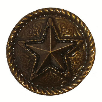 Buck Snort Southwest Collection 1-1/4'' Diameter Barn Star Round Cabinet Knob in Antique Brass in Multiple Finishes