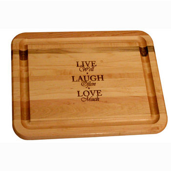 """Catskill Craftsmen Live, Laugh, Love Flat Grain Reversible Cutting Board with Juice Groove in Oiled Finish, 19"""" W x 15"""" D x 1"""" H"""