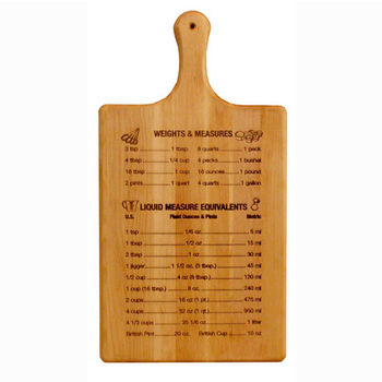 """Catskill Craftsmen Large Measurements & Liquid Equivalents Flat Grain Reversible Paddle Board in Oiled Finish, 11"""" W x 21"""" D x 3/4"""" H"""