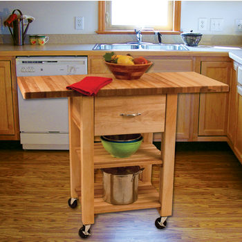 "Catskill Craftsmen Deep Drawer Double Drop Leaf Cart with 1-1/2"" Thick Butcher Block Top in Oiled Finish, Ready to Assemble, Casters, 46"" W x 20"" D x 35-1/4"" H"