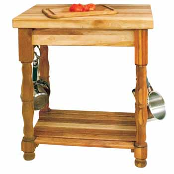 "Catskill Butcher Block Kitchen Island with Turned Legs and Pot Racks, 30""W x 20""D x 35-1/2""H"