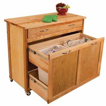 Pull Out Recycling Trash Kitchen Island By Catskill Craftsmen Kitchensource Com
