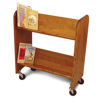 Catskill Bookmaster Rol-Rack - Book & Video Carts, 27'' Birch w/ Walnut Stain