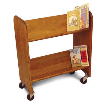 Catskill Bookmaster Rol-Rack - Book & Video Carts, 32'' Birch w/ Walnut Stain