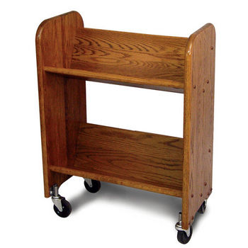 Catskill Bookmaster Rol-Rack - Book & Video Carts, 27'' Oak w/ Walnut Stain