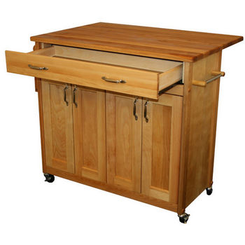Catskill Mid-Sized Island with Flat Panel Doors and Drop Leaf