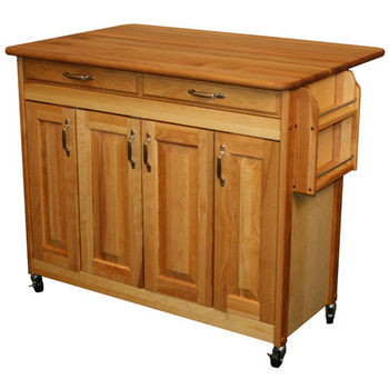 Catskill Designer Kitchen Butcher Block Island with Raised panel Doors & Drop Leaf