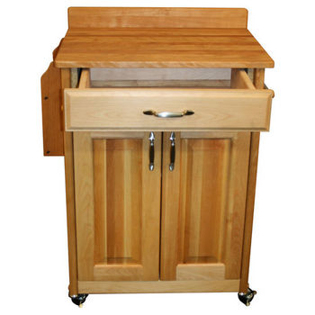 Deluxed Butcher Block Cart Drawer Open