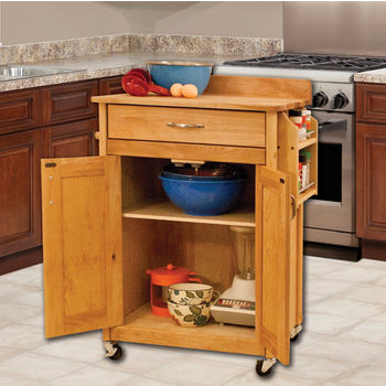 "Catskill Craftsmen Deluxe Butcher Block Cart with Flat Panel Doors and Backsplash in Oiled Finish, Casters, 26-7/8"" W x 17-3/4"" D x 37"" H"