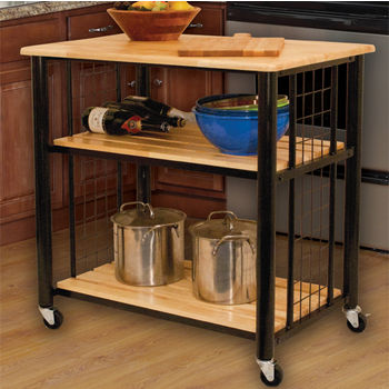 """Catskill Craftsmen Contemporary Kitchen Cart with Natural Lacquered Hardwood Top, Slatted Shelves and Casters, 33-1/2"""" W x 23-1/2"""" D x 35-1/4"""" H"""