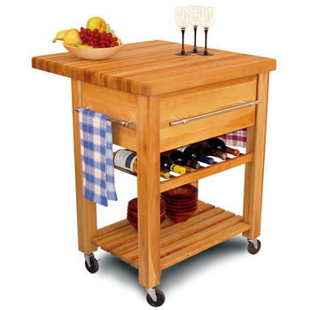 Catskill Craftsmen Baby Grand Kitchen Island Workcenter With Drop Leaf And Wine Rack 6 Bottle Capacity 29 W X D