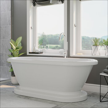Cambridge Plumbing 71'' Tub w/ Polished Chrome Gooseneck Faucet & Shower Wand Plumbing Package