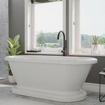 Cambridge Plumbing 71'' Tub w/ Oil Rubbed Bronze Gooseneck Faucet & Shower Wand Plumbing Package
