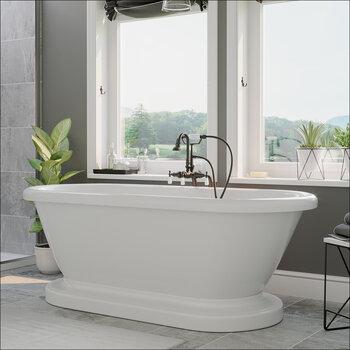 Cambridge Plumbing 71'' Tub w/ Oil Rubbed Bronze Gooseneck Faucet & Hand Held Shower Plumbing Package