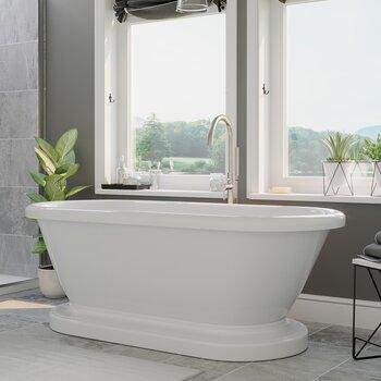Cambridge Plumbing 59'' Tub w/ Brushed Nickel Gooseneck Faucet & Shower Wand Plumbing Package