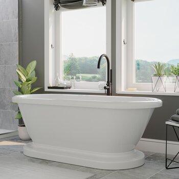 Cambridge Plumbing 59'' Tub w/ Oil Rubbed Bronze Gooseneck Faucet & Shower Wand Plumbing Package