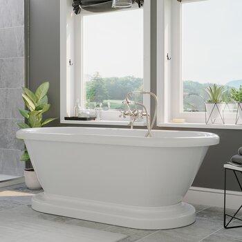 Cambridge Plumbing 59'' Tub w/ Brushed Nickel Telephone Faucet & Hand Held Shower Plumbing Package