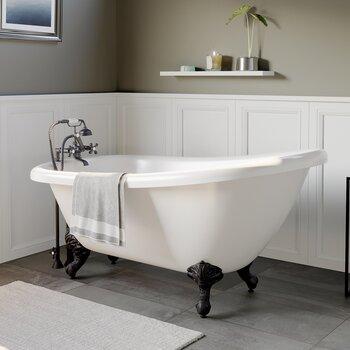 Cambridge Plumbing 61'' Tub w/ Oil Rubbed Bronze Telephone Faucet & Hand Shower 2'' Risers Plumbing Package