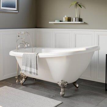 Cambridge Plumbing 61'' Tub w/ Brushed Nickel Gooseneck Faucet & Hand Held Shower Plumbing Package