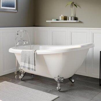 Cambridge Plumbing 61'' Tub w/ Polished Chrome Gooseneck Faucet & Hand Held Shower Plumbing Package