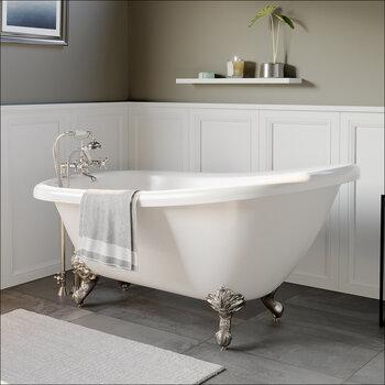 Cambridge Plumbing 67'' Tub w/ Brushed Nickel Telephone Faucet & Hand Shower 2'' Risers Plumbing Package