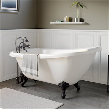 Cambridge Plumbing 67'' Tub w/ Oil Rubbed Bronze Telephone Faucet & Hand Shower 2'' Risers Plumbing Package