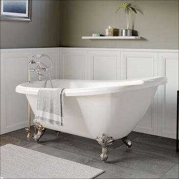 Cambridge Plumbing 67'' Tub w/ Brushed Nickel Telephone Faucet & Hand Shower 6'' Risers Plumbing Package