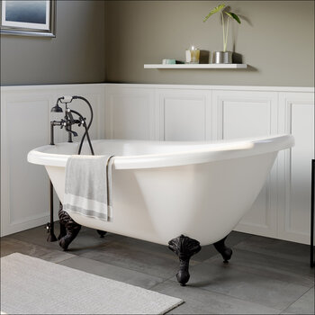 Cambridge Plumbing 67'' Tub w/ Oil Rubbed Bronze Telephone Faucet & Hand Shower 6'' Risers Plumbing Package