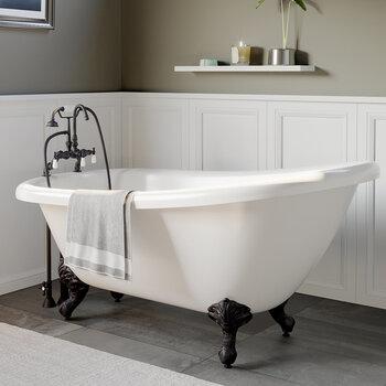 Cambridge Plumbing 67'' Tub w/ Oil Rubbed Bronze Gooseneck Faucet & Hand Held Shower Plumbing Package