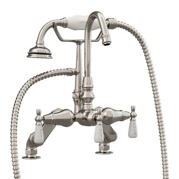 Cambridge Plumbing Clawfoot Tub Deck Mount Porcelain Lever English Telephone Gooseneck Brass Faucet with Hand Held Shower, Brushed Nickel, 13''W x 12''D x 9''H