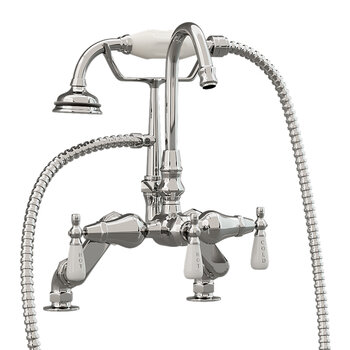 Cambridge Plumbing Clawfoot Tub Deck Mount Porcelain Lever English Telephone Gooseneck Brass Faucet with Hand Held Shower, Polished Chrome, 13''W x 12''D x 9''H