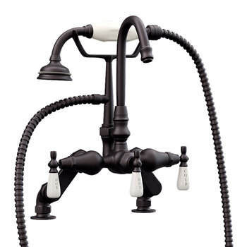 Cambridge Plumbing Clawfoot Tub Deck Mount Porcelain Lever English Telephone Gooseneck Brass Faucet with Hand Held Shower, Oil Rubbed Bronze, 13''W x 12''D x 9''H
