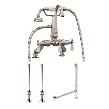 Cambridge Plumbing Complete Plumbing Package for Deck Mount Bathtub, Brushed Nickel - Includes English Telephone Gooseneck Faucet w/ Hand Held Shower, Supply Lines w/ Shut Off Valves, Drain and Overflow Assembly