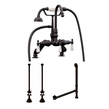 Cambridge Plumbing Complete Plumbing Package for Deck Mount Bathtub, Oil Rubbed Bronze - Includes English Telephone Gooseneck Faucet w/ Hand Held Shower, Supply Lines w/ Shut Off Valves, Drain and Overflow Assembly