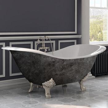 Cambridge Plumbing 72'' Tub w/ Scorched Platinum Exterior & Brushed Nickel Feet