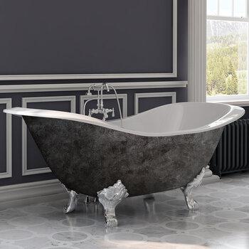 Cambridge Plumbing 72'' Tub w/ Scorched Platinum Exterior & Polished Chrome Feet
