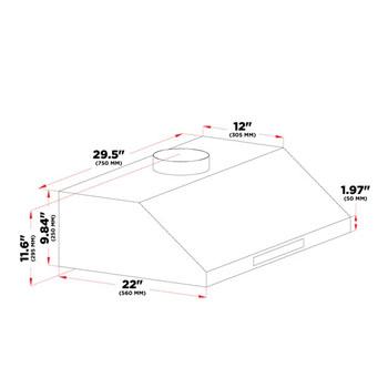 Cavaliere-Euro AP238-PS37 Stainless Steel Under Cabinet Mount Range Hood