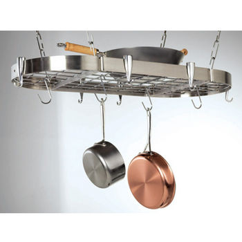 Concept Housewares Stainless Steel Oval Ceiling Hanging Pot Rack With Grid