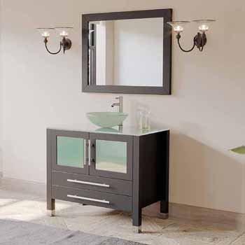 36 Wide Bathroom Vanity Set With Tempered Glass Countertop With Round Glass Bowl Vessel Sink Faucet And Matching Vanity Mirror By Cambridge Plumbing Kitchensource Com