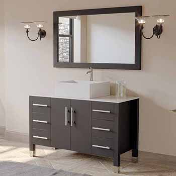 Solid Wood 48 Single Glass Bowl Or Porcelain Square Vessel Sink Vanity Set With White Porcelain Or Tempered Glass Countertop And Matching Mirror In Multiple Finishes By Cambridge Plumbing Kitchensource Com