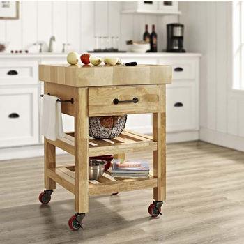 Crosley Furniture Marston Butcher Block Kitchen Cart in Natural