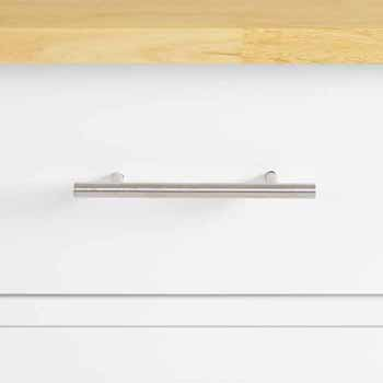 Wood Top White Base Closeup View 1