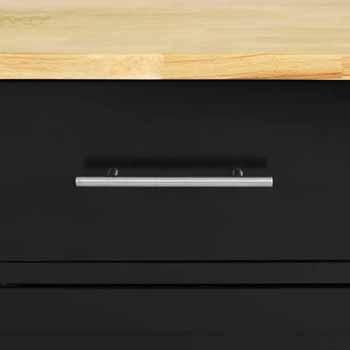 Wooden Top Black Base Closeup View 1