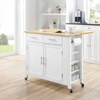 Savannah Kitchen Island And Cart With Natural Wood Top Drop Leaf And White Base By Crosley Furniture Kitchensource Com
