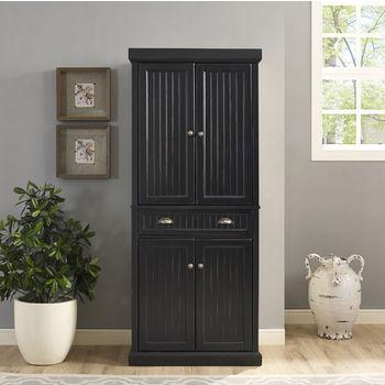 Crosley Furniture Seaside Kitchen Pantry, Distressed Black Finish