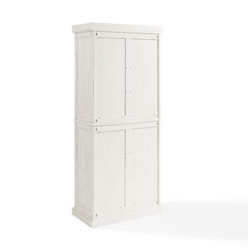 Crosley Furniture Seaside Kitchen Pantry, Distressed White Finish