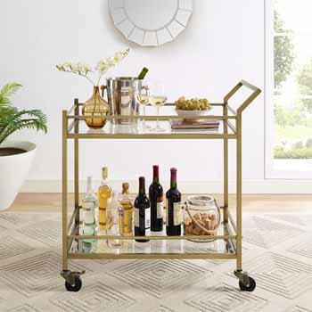 Antique Gold - Bar Cart Front View