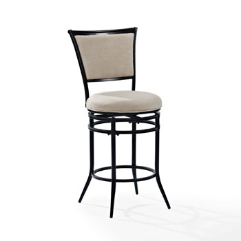 Black Counter Stool w/ White Cushion, Product View